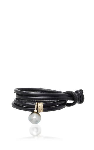 Medium mizuki black black leather double wrap with pearl and diamond slider