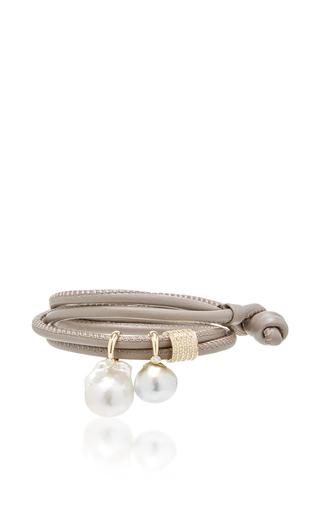 Medium mizuki brown taupe leather double wrap with pearls and diamond slider