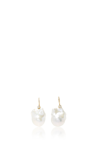 Medium mizuki white large pearl and diamond earring