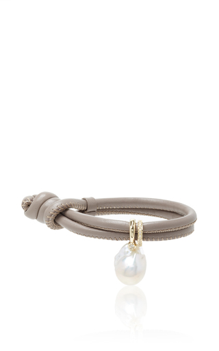 Medium mizuki brown single taupe leather bracelet with pearl and diamond slider