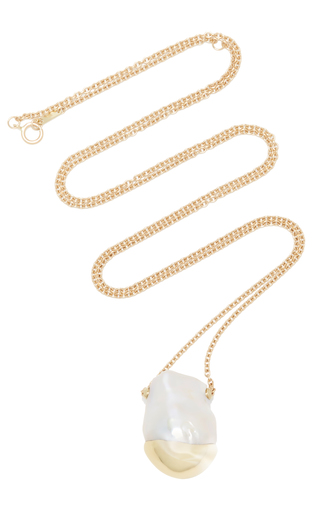 Medium mizuki white fluid baroque slide solitaire pearl necklace
