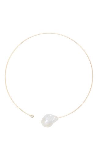 Medium mizuki white large baroque pearl and diamond collar