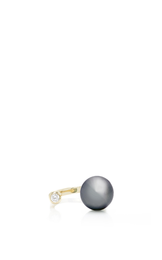 Medium mizuki black open ring with tahitian pearl and diamond