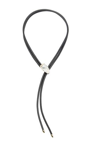 Medium mizuki black leather necklace with fluid pearl slider