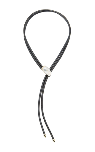 Medium mizuki black leather necklace with fluid pearl slider