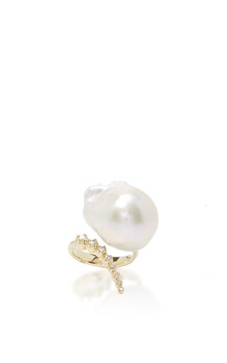 Medium mizuki white graduated curved diamonds and pearl ring