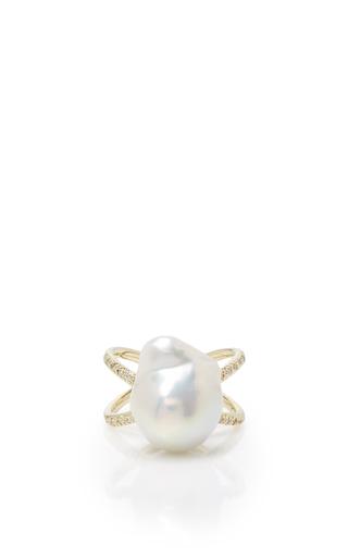 Medium mizuki white pearl and diamond crossover ring