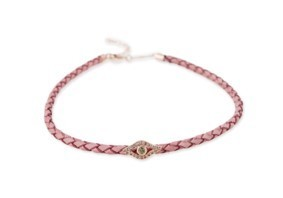 Medium jacquie aiche pink 14k rg pave eye pink leather bolo choker