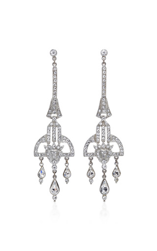 Medium ben amun silver antique silver crystal deco earring