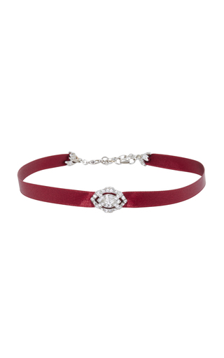 Medium ben amun burgundy burgundy satin choker with silver crystal deco pendant