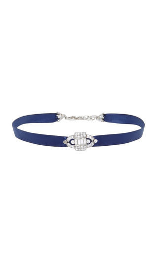 Medium ben amun navy navy satin choker with silver crystal deco pendant