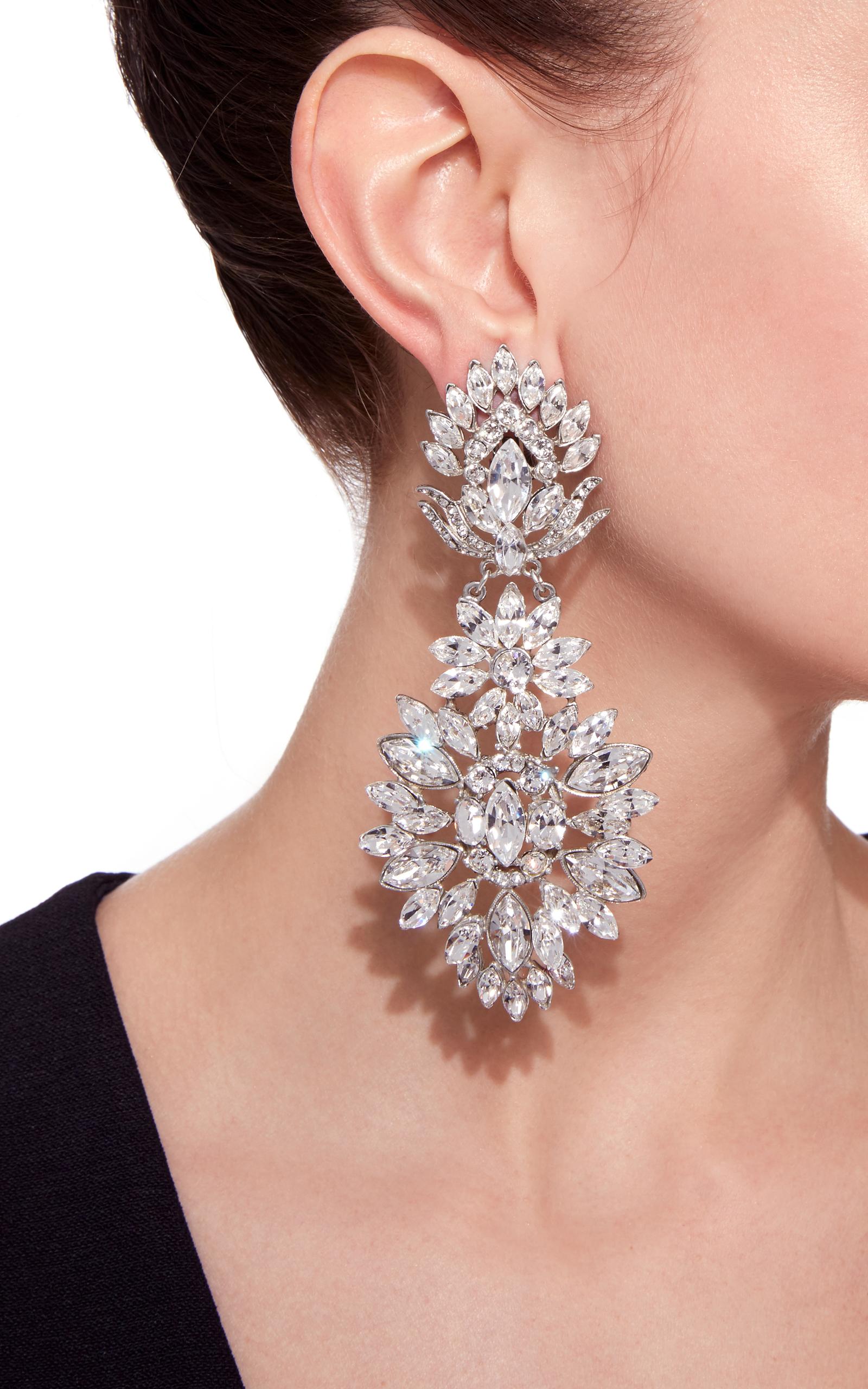 Silver Crystal Large Clip Earrings by Ben Amun | Moda Operandi