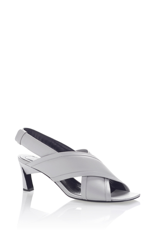 Medium marni silver heeled crossover sandal 2