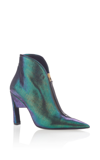 Medium marni green pointed toe ankle bootie