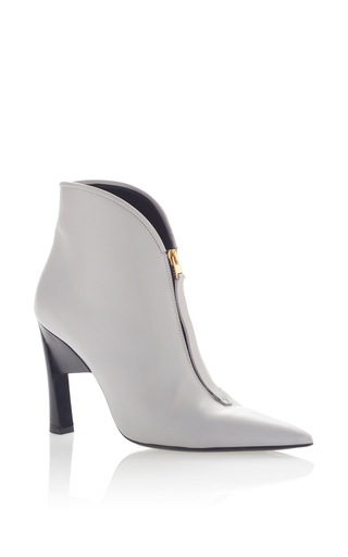 Medium marni silver pointed toe ankle bootie 2