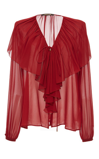 Medium roberto cavalli red ruffled long sleeve top