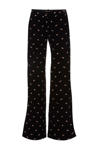 Medium roberto cavalli black embroidered velvet pants