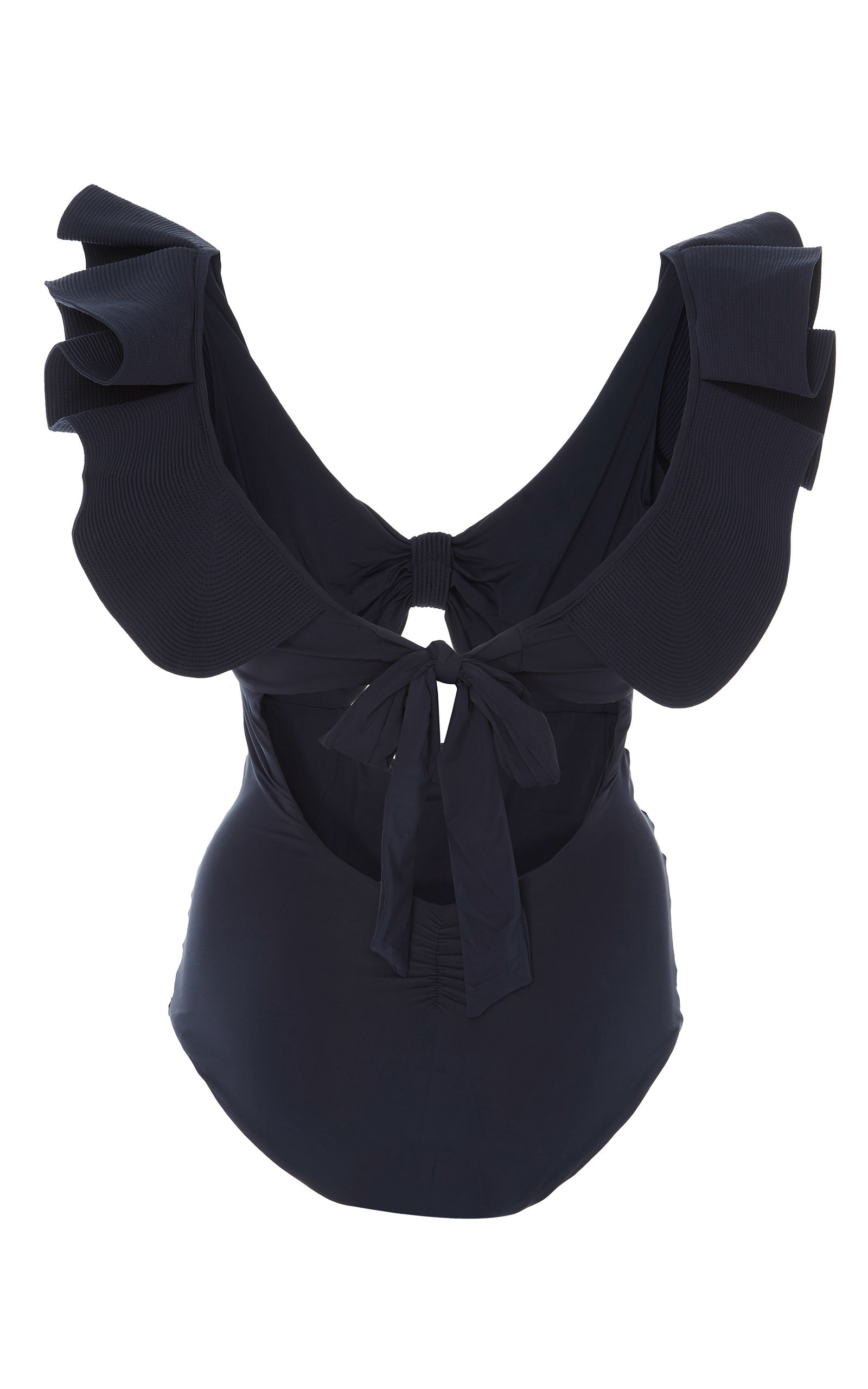 M O Exclusive Mangrove Ruched Ruffle One Piece By Moda