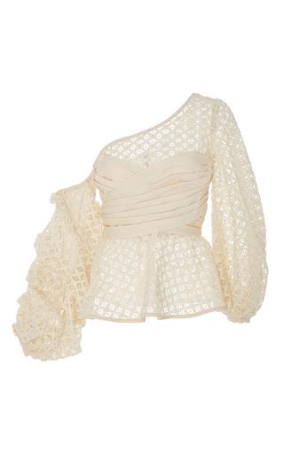 Medium johanna ortiz neutral waterwheel cold shoulder blouse