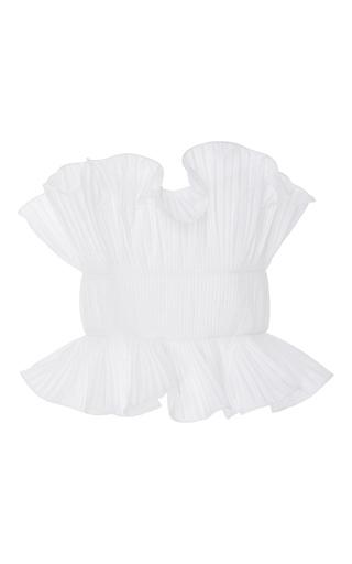 Medium johanna ortiz neutral sandy strapless ruffle blouse