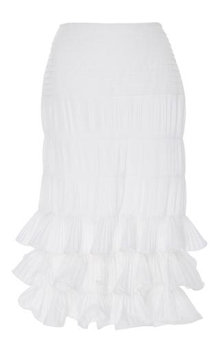 Medium johanna ortiz neutral sanibel tiered ruffle midi skirt