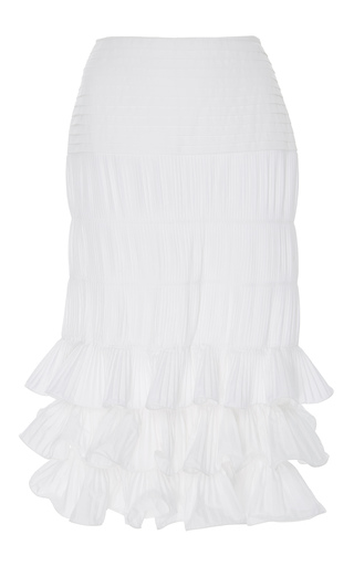 Medium johanna ortiz neutral sanibel tiered ruffle midi skirt