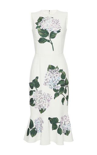 Medium dolce gabbana white floral appliqued dress
