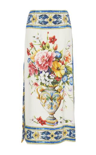 Medium dolce gabbana print printed stretch silk charmeuse midi skirt