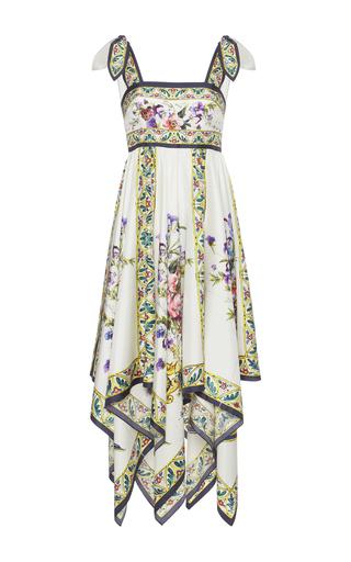 Medium dolce gabbana print floral print silk twill midi dress