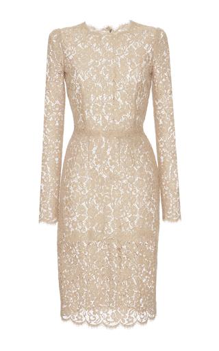 Medium dolce gabbana pink cotton blend lace dress