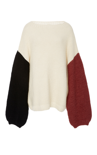 Medium tuinch neutral handmade color block cashmere sweater
