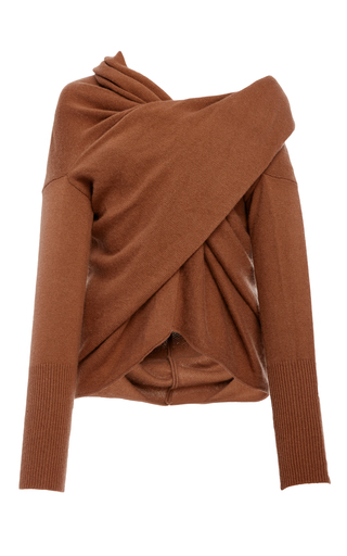 Medium tuinch brown draped cashmere sweater