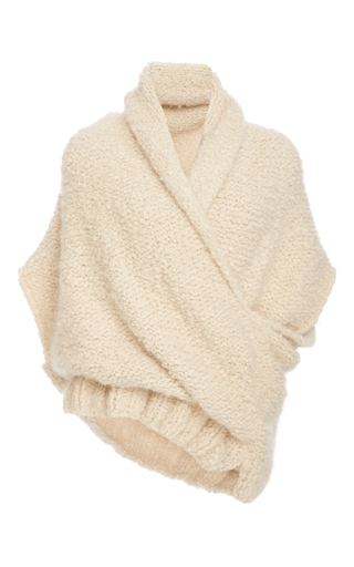 Medium tuinch white handmade cross front cashmere sweater