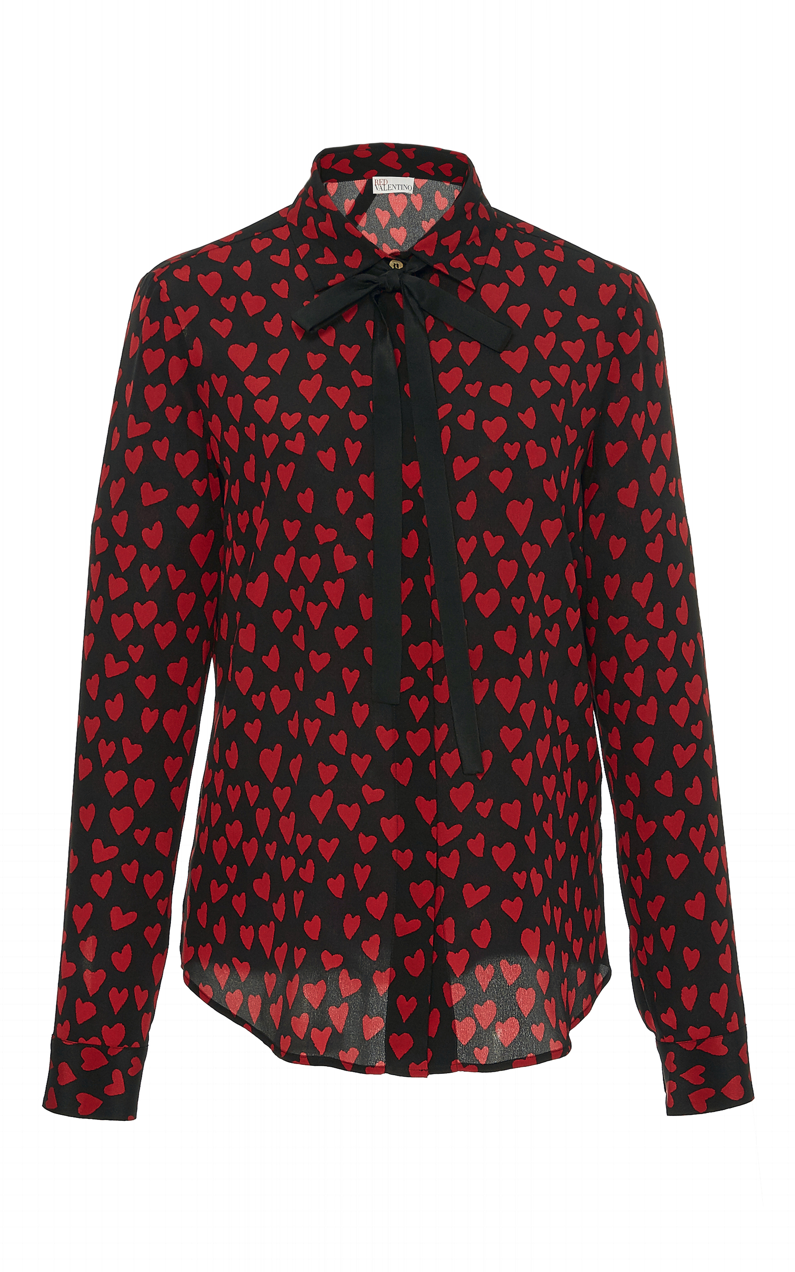 7c7c20a74ab28 Red ValentinoSilk Crepe De Chine Heart Print Blouse. CLOSE. Loading