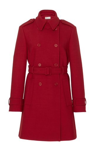 Medium red valentino red double cotton wool twill coat