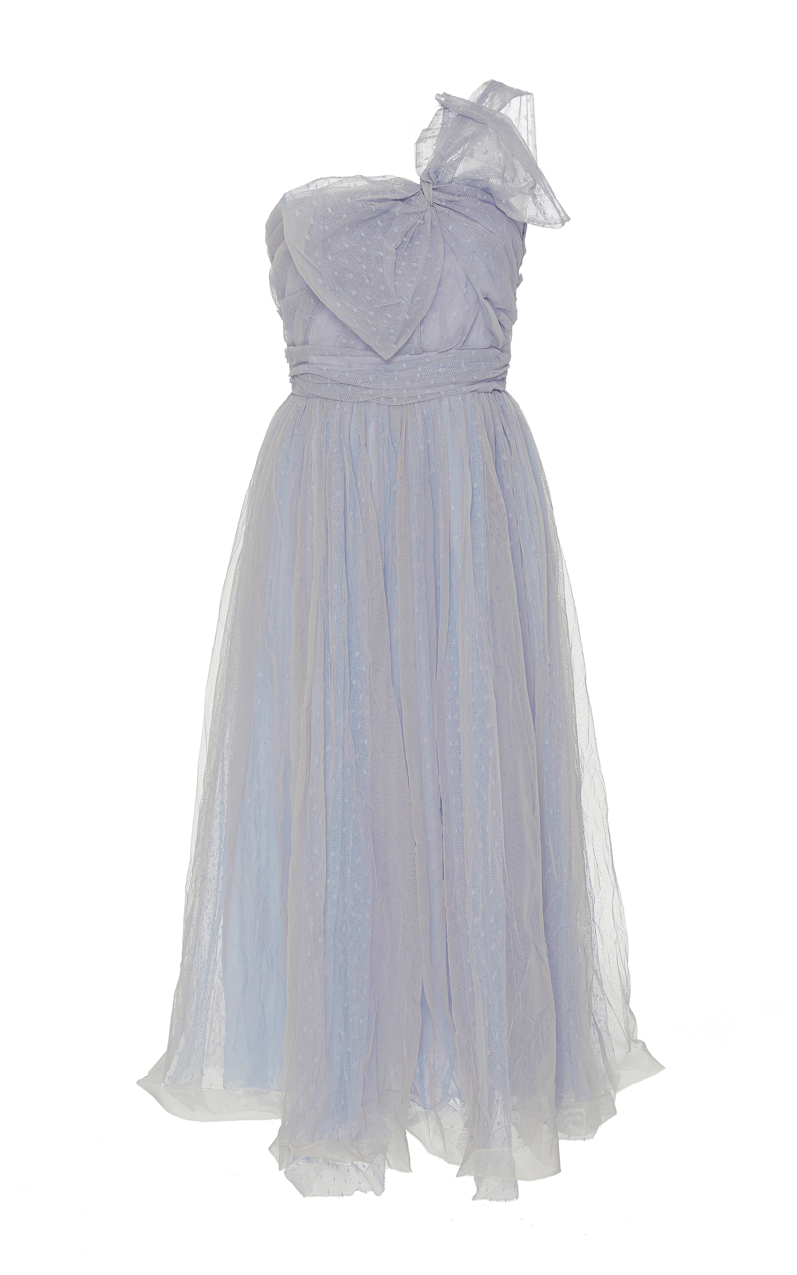 790bc0d8d3 One Shoulder Pressed Wrinkles Point D'Esprit And Tulle Dress by Red ...