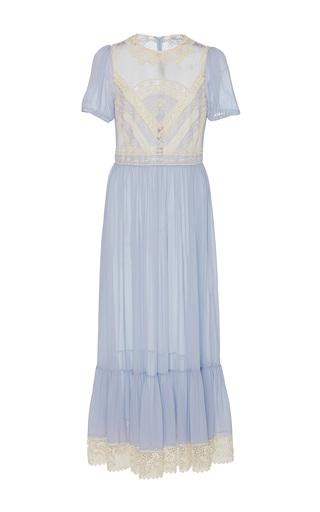 Medium red valentino blue silk georgette maxi dress with macrame ribbon
