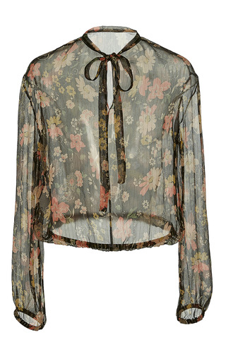 Medium red valentino floral chelsea flower print blouse with lurex detail