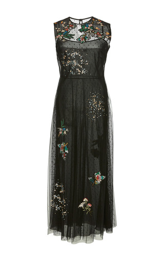 Medium red valentino black point d esprit dress with multicolor flower embroidery and patches