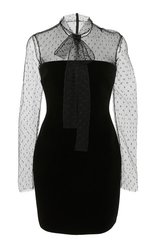 Medium red valentino black velvet fused jersey dress with point d esprit sleeve and bib