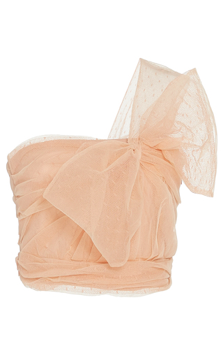 Medium red valentino pink one shoulder point d esprit and tulle top