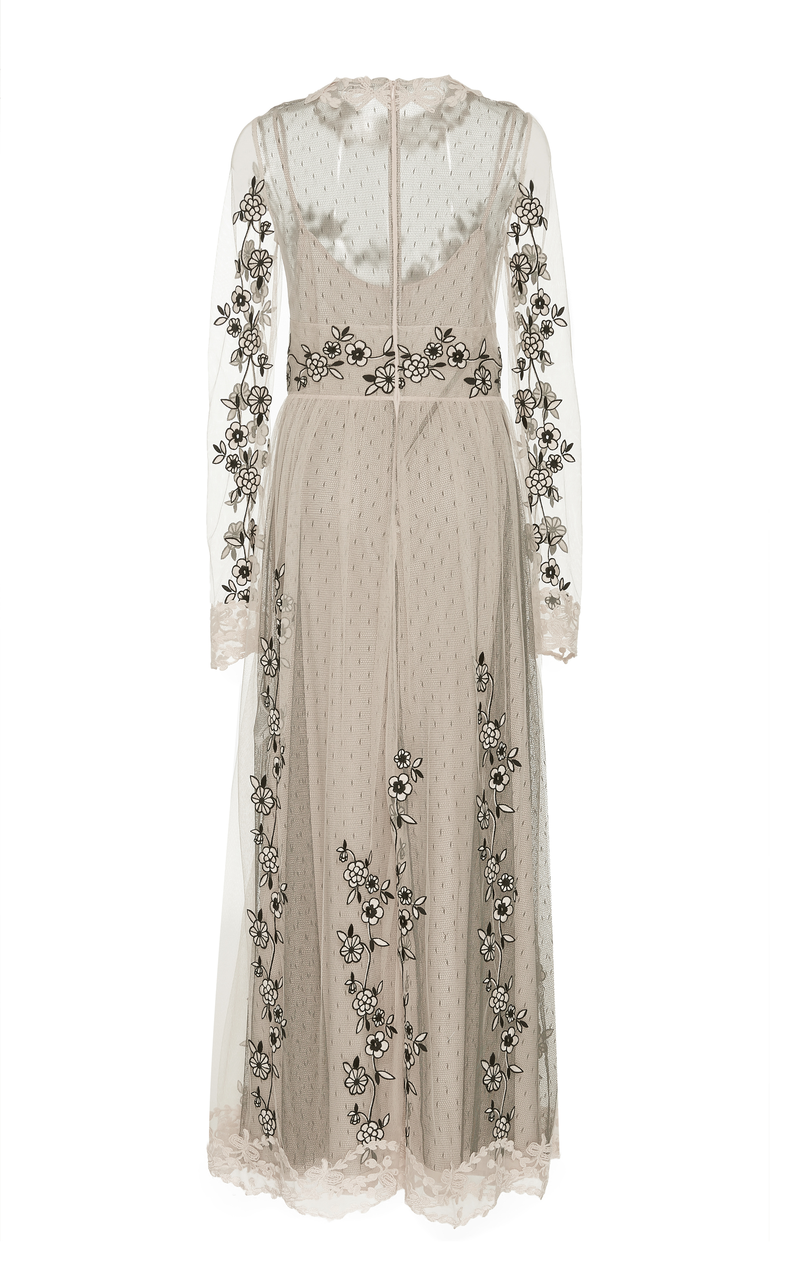 Flower Embroidered Tulle Long Sleeve Dress By Red Moda