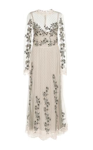 Medium red valentino black white flower embroidered tulle long sleeve dress