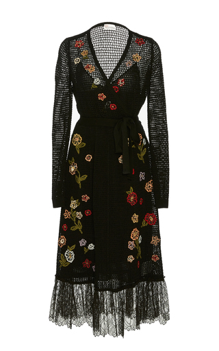 Medium red valentino black flower embroidered crochet knit wrap dress with point d esprit detail