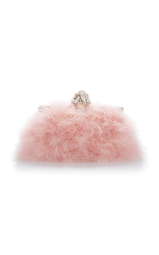 Medium dolce gabbana pink crystal embellished feather clutch