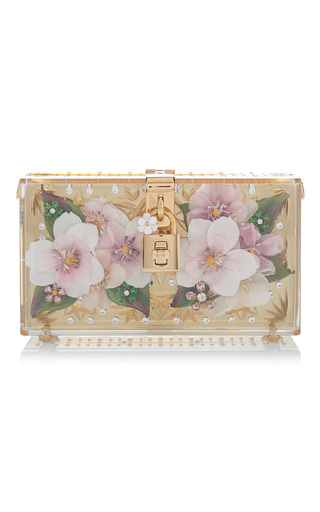 Medium dolce gabbana gold crystal embellished floral clutch