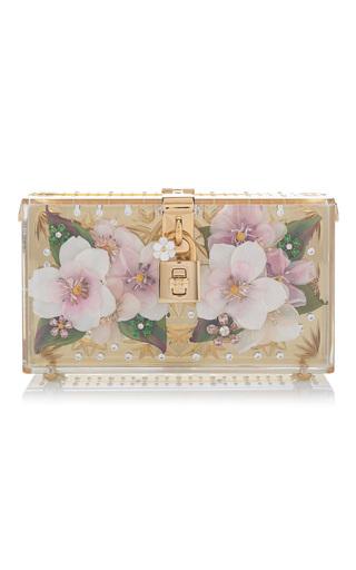 Medium dolce gabbana gold crystal embellished floral clutch