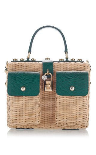 Medium dolce gabbana green embellished leather trimmed rattan tote