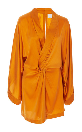 Medium acler orange eden silk mini dress