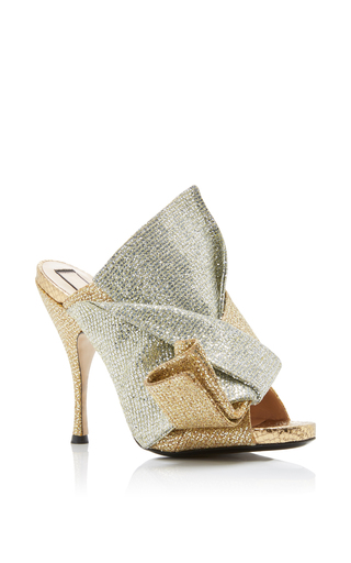 Medium no 21 gold glitter satin knot mule